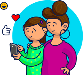 illustration of a happy mother and daughter using a cell phone